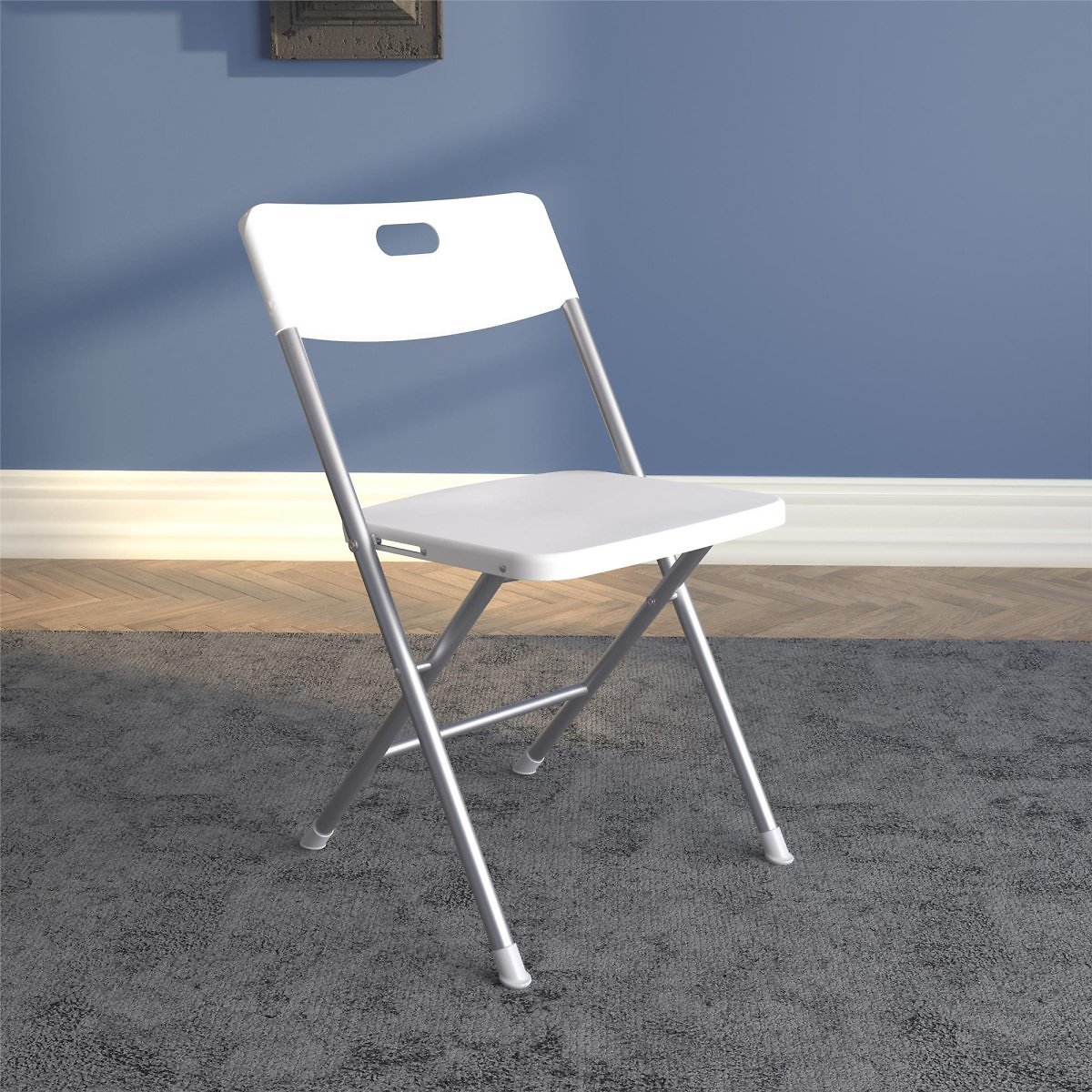 Mainstays Resin Seat & Back Folding Chair, White, 4-Pack
