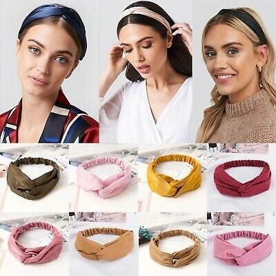 Cross Top Knot Headband For Women Girl Hair Bands Solid Elastic Twist Headbands