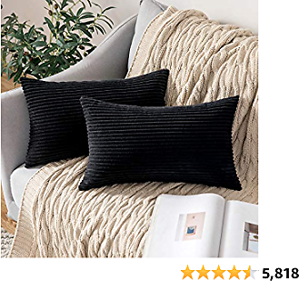 MIULEE Pack of 2 Corduroy Soft Soild Decorative Square Throw Pillow Covers Cushion Cases Pillow Cases for Couch Sofa Bedroom Car 12 X 20 Inch 30 X 50 Cm