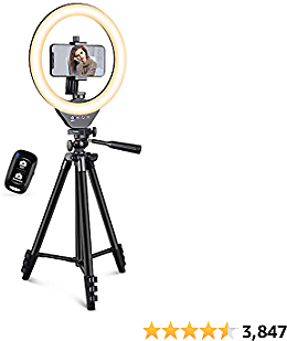 EICAUS 10'' Ring Light with Stand and Phone Holder, Cell Phone Tripod with Ringlight and Phone Holder, Selfie Ring Light for Live Streaming/Makeup/Photography, Compatible with All Cell Phones