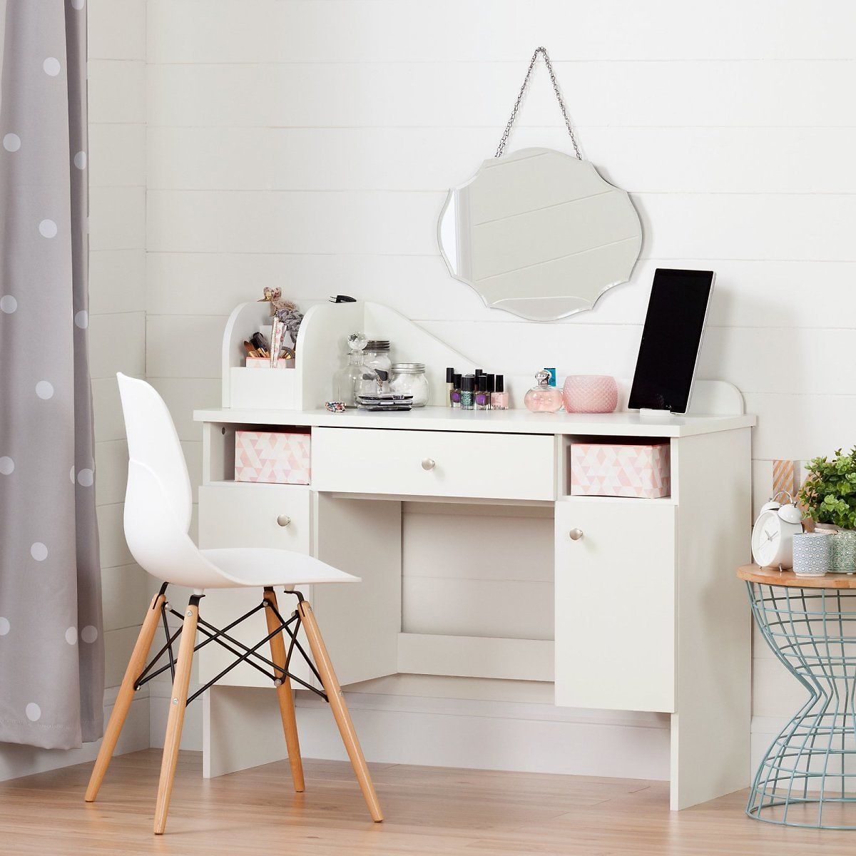South Shore Vito Makeup Kids Desk with Drawer, White