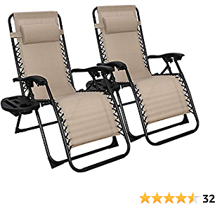 SUPER DEAL Set of 2 Reclining Lounge Chair Adjustable Zero Gravity Chair with Pillow and Utility Tray - Folding Recliners for Outdoor, Patio, Poolside, Backyard, Deck, Beach