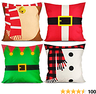Christmas Pillows 18 X 18 Covers Xmas Pillow Covers Set of 4 Holiday Cartoon Pillow Covers Snowman Santa's Elf for Sofa Couch Bedroom Outdoors