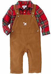 Crown & Ivy™ Baby Boys Plaid Shirt and Overalls Set