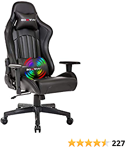 Bowthy Massage Gaming Chair for Adults Computer Ergonomic Game Chair Heavy Duty Big and Tall Gamer Chair Racing Style Headrest and Lumbar Support (Black)