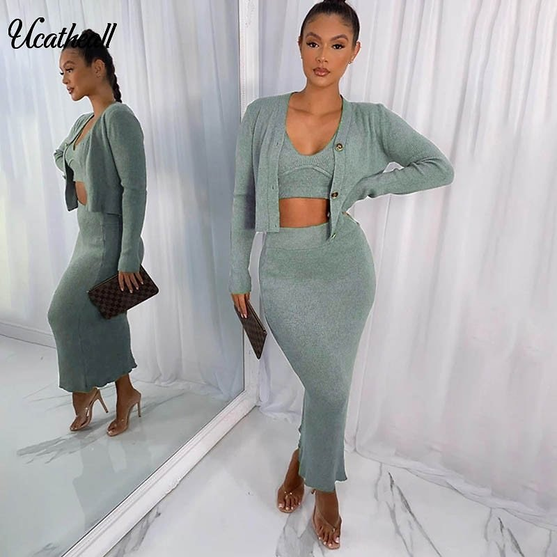 Autumn Women Elegant Two Piece Set Skirt Set Sleeveless Crop Tops +skirt Sexy Knitted Party Wear With Short Cardigan Jacket