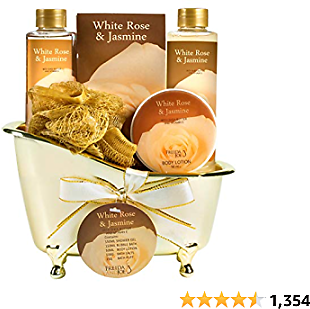 White Rose Jasmine Spa Set For Women Displayed in Elegant Gold Tub Includes Shower Gel, Bubble Bath, Body Lotion, Jasmine Bath Salt and Pouf, Award Winning Bath and Body Set