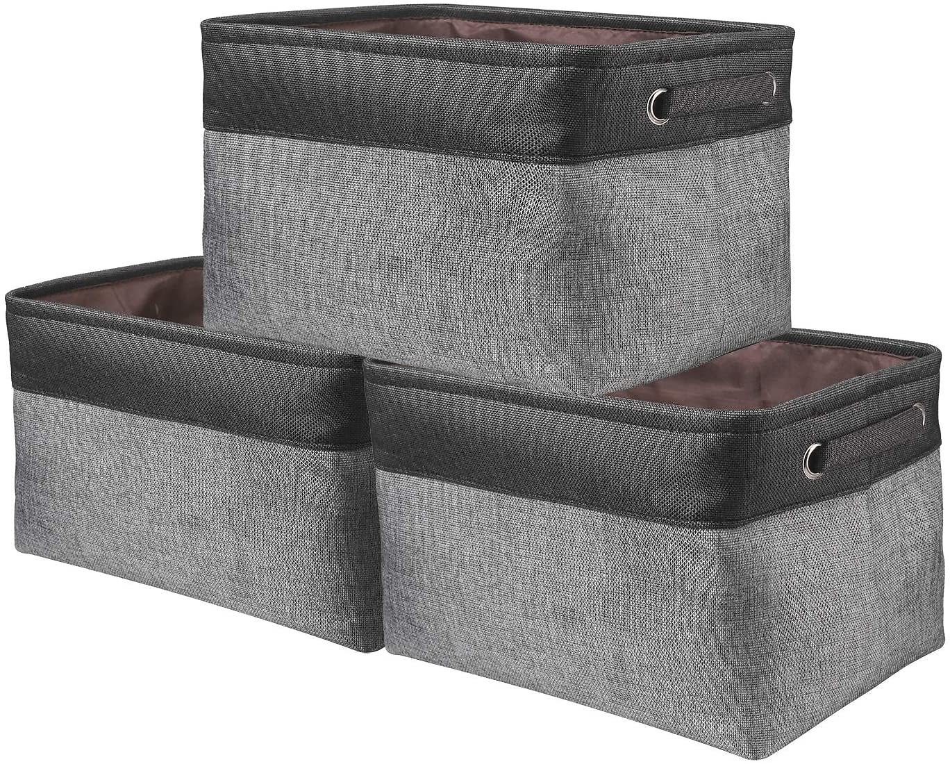 Awekris Large Storage Basket Bin Set [3-Pack] Storage Cube Box Foldable Canvas Fabric Collapsible Organizer with Handles for Home Office Closet Toys Clothes Kids Room Nursery (Grey) (Black and Grey)