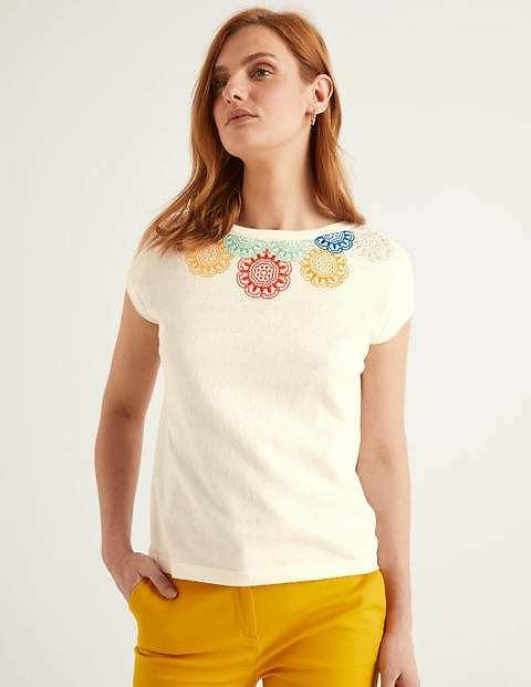 Elgin Embroidered Tee - Ivory | Boden US