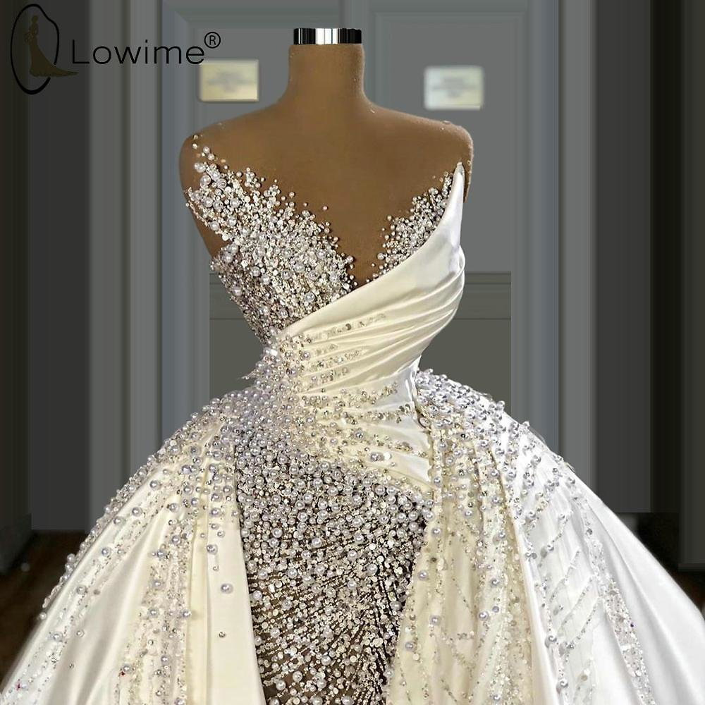 US $316.0 20% OFF|High End Luxury Pearls Satin Wedding Dresses Illusion O Neck Overskirts Wedding Bridal Gowns Custom Made| | - AliExpress