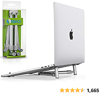 Steklo Laptop Stand Adjustable, Aluminum Computer Riser, Ergonomic Foldable Portable Notebook Holder for Desk, Compatible with 12 13 14 15 16 17 Inch Mac MacBook Pro Air PC X-Stand, Silver