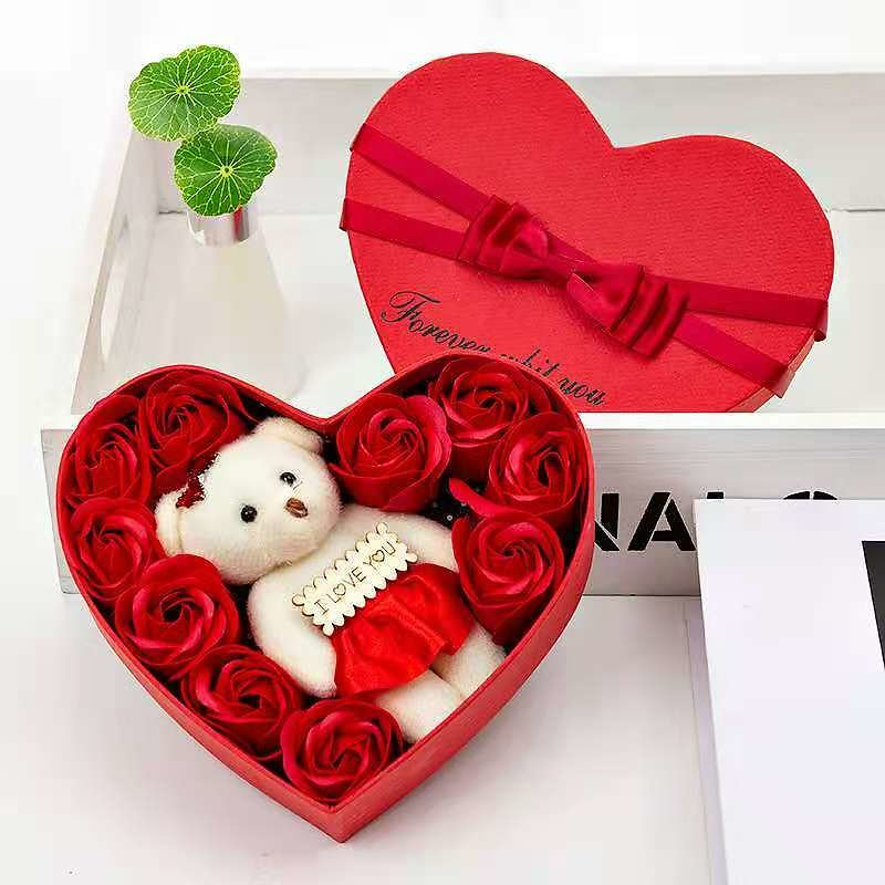 US $4.37 27% OFF|Valentine's Day 10 Soap Flower Gift Box Rose Flower Box Bear Bouquet Holiday Gift Decoration DIY Decoration Birthday Gift|Artificial & Dried Flowers| - AliExpress