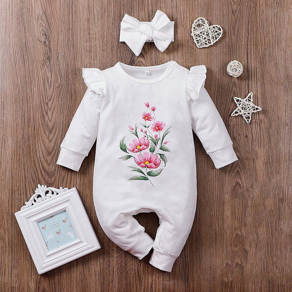 2-piece Baby Floral Ruffled Jumpsuit and Jumpsuit and Headband Set