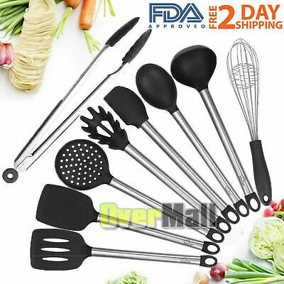 11PCS Silicone Kitchen Cooking Utensils Set Resistant Basting High Quality 600685092996