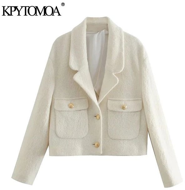 KPYTOMOA Women 2021 Fashion With Pockets Tweed Cropped Blazer Coat Vintage Long Sleeve Metal Buttons Female Outerwear Chic Tops