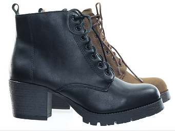 Nevitt By Soda, Lace Up Military Combat Ankle Boots W Lug Sole & Vintage Fabric (Woman)