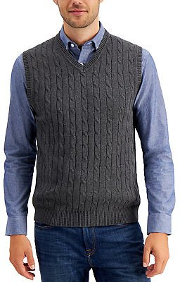 Club Room Men's Cable-Knit Cotton Sweater Vest, Created for Macy's & Reviews - Sweaters - Men