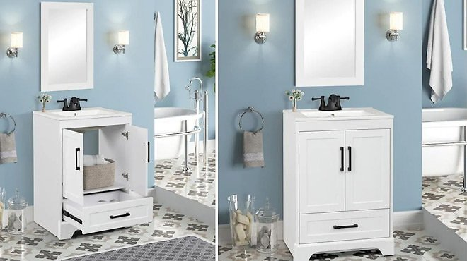 Style Selections Savannah 24-in White Single Sink Bathroom Vanity with White Porcelain Top (Mirror Included)