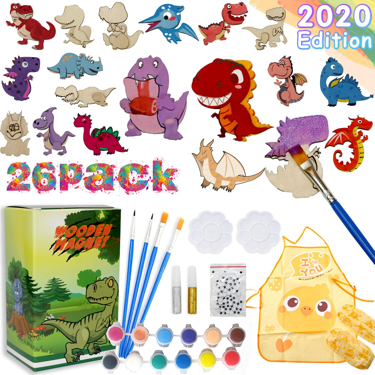 50% Promotional Discount Craft Kit and Art Set for Kids, Dinosaur Wood Painting