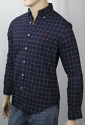 Ralph Lauren Navy Blue Plaid Classic Oxford Dress Shirt Red Pony NWT