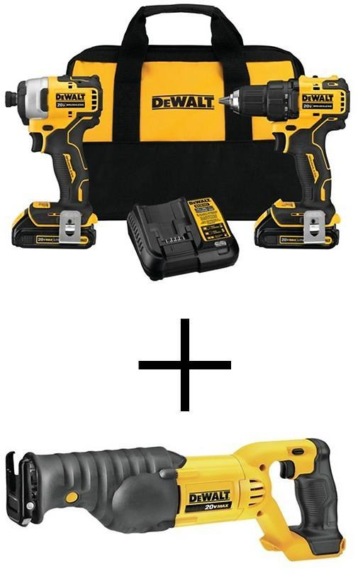 DEWALT ATOMIC 20-Volt MAX Lithium-Ion Brushless Cordless Compact Drill/Impact Combo Kit (2-Tool) with Reciprocating Saw-DCK278C2W380B
