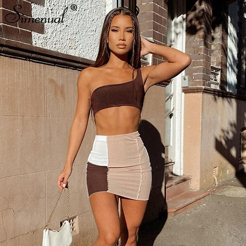 US $9.99 50% OFF|Simenual Ribbed Patchwork Two Piece Sets One Shoulder Tank Top And Skirts Women Skinny Vintage Streetwear Co Ord Outfits Club|Women's Sets| - AliExpress