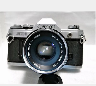 Canon AE-1 50mm F1.8 Film Camera Good Working Condition JAPAN F/S