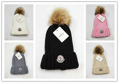 LADIES WARM FUR KNITTED WINTER HAT SKI POM BOBBLE BAGGY CROCHET BEANIE CAP