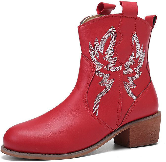 Women Folkways Floral Embroidered Chunky Heel Slip-On Short Cowboy Boots