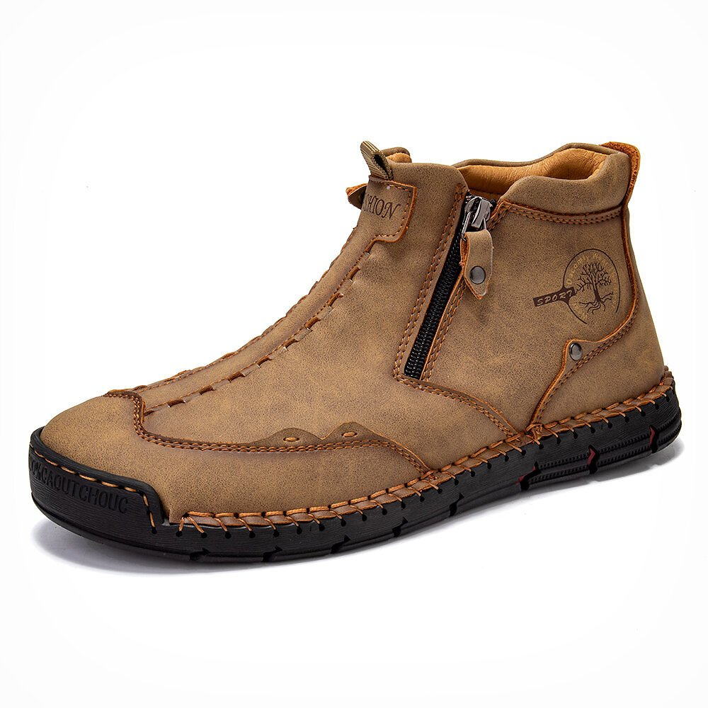 Men Double Side Zipper Hand Stitching Microfiber Leather Ankle Boots