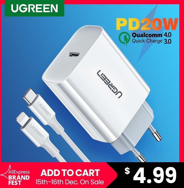 Ugreen Quick Charger 20W USB Type C Fast Charger for IPhone