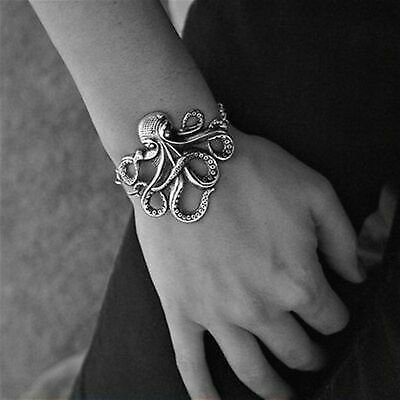 Octopus Bracelets Link Chain Silver Color Rock Punk Bangles Party Jewelry Gift