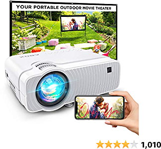 Bomaker Projector for Outdoor Movies, WiFi Mini Projector Ultra Portable ,Wireless Mirroring, HD Movie Supported,Compatible with TV Stick, PS4, DVD Players, IPhone, Android, Windows