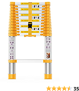 Telescoping Extension Ladder 12.5FT Heavy Duty Upgrade,Aluminum Telescopic Ladder with Upgrade Material/Accessories, Yellow