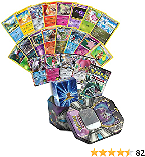 31 Assorted Pokemon Cards - 1 EX Ultra Rare, 5 Rares, 5 Holographics, 19 Common/Uncommons, 1 Assorted Booster Pack - Includes Collectible Pokemon Tin and Golden Groundhog Deck Storage Box