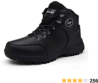 Lianshp Men's Warm Winter Snow Boots Water Resistant Warm Fur,Outdoor Anti-Slip Shoes,Shoe Lace Hook