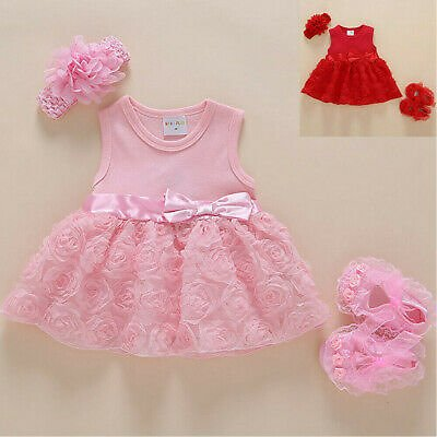 Infant Baby Girl Sleeveless Bowknot Flower Dress + Shoes + Headband Outfits
