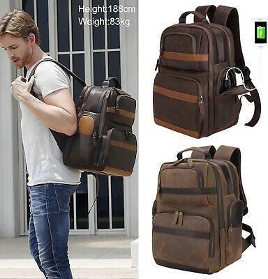 Retro Men Leather Backpack 16