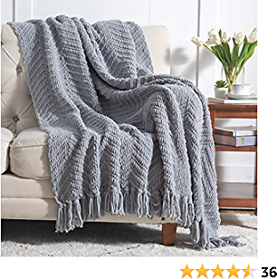 Bedsure Grey Throw Blankets for Couch, Textured Knit Woven Blanket, 50x60 Inch - Super Soft Warm Decorative Blanket with Tassels for Couch, Bed, Sofa and Living Room