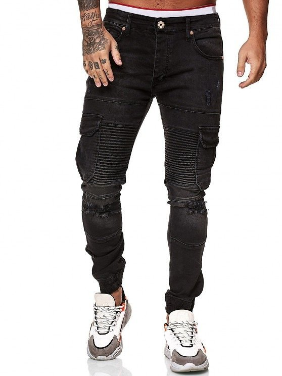 Distressed Ripped Pleated Patchwork Beam Feet Jeans BLACK