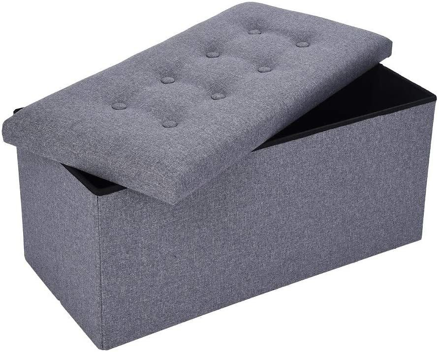DOYCE Foldable Tufted Linen Large Storage Ottoman Bench Foot Rest Stool