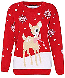 Kids Merry Christmas Knitted Jumper Reindeer Rudolph Top Snowflake Pom Pom Xmas Sweater