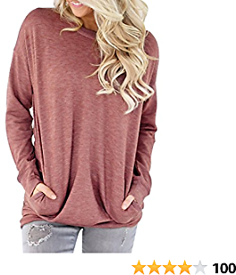 Miskely Women's Long Sleeve Round Neck Casual Blouse with Pocket Solid Color Sweatshirt Pullover Loose Tunic Tops T Shirt
