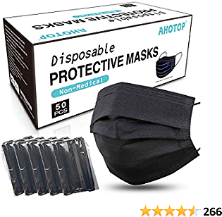 AHOTOP Black Disposable Face Mask Individually Wrapped Dust Mask, Breathable Comfortable Cool Face Masks with Nose Wire Ear Loop for Adult Men Women Indoor Outdoor, 3 Ply 50PCS