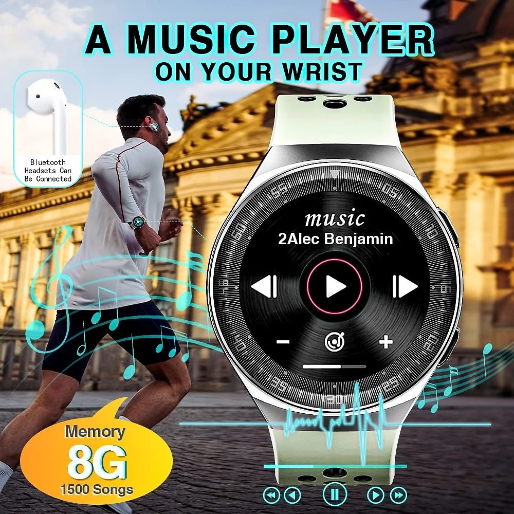 8G ROM Real Music Player Smart Watch Bluetooth Call Storage 1500 Songs Smartwatch for Men Women Android IOS Recording Function