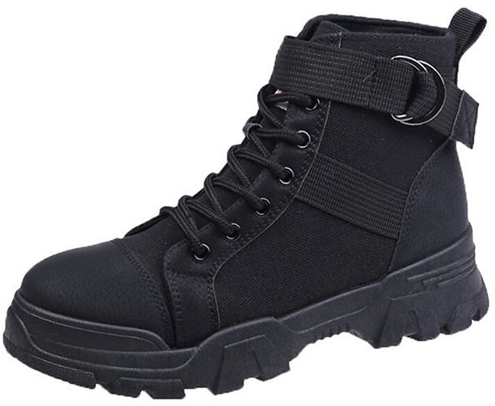 Women's Solid Color Lace Up Casual Flat Combat Boots