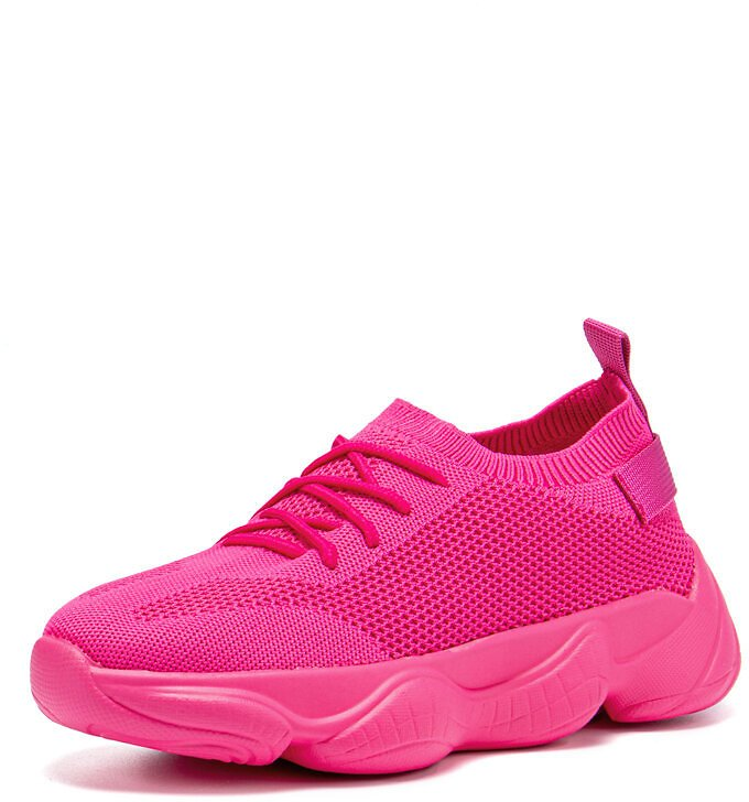 Women Breathable Knitted Fabric Lace-up Sport Casual Running Sneakers
