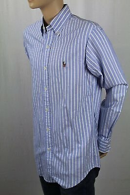Ralph Lauren Blue Striped Classic Oxford Dress Shirt Multi Colored Pony NWT