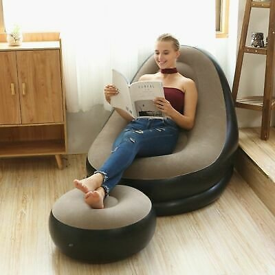 Inflatable Folding Lounge Chairs Outdoor Recliner Sofa Bed With Pedal Singalsofa