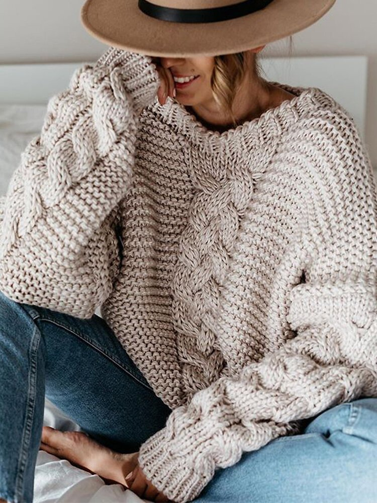 Casual Solid Color Knit Plus Size Sweater for Women